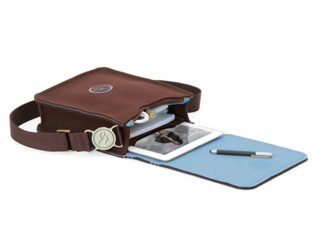 76ef9128ed69d WATERKANT Deichkönig Wollfilz Umhängetasche   Messenger für iPad und iPad  Air in Braun   Blau